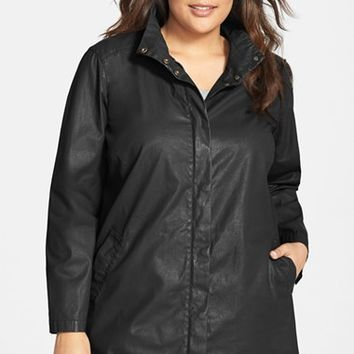 Plus Size Women's Eileen Fisher Waxed Cotton Stand Collar A-Line Jacket,