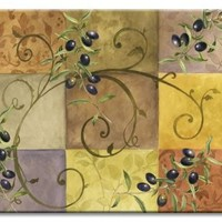CounterArt Tuscan Olives Glass Cutting Board, 14-7/8 by 11-3/4 Inches