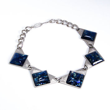 YSL Dichroic Blue Glass Necklace Runway Couture, Yves Saint Laurent, Designer Jewelry, Vintage