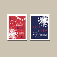 4th Fourth of July Holiday Freedom God Bless America Red White Blue Digital Instant Download Set of 2 Prints 8x10 Wall Art Decor