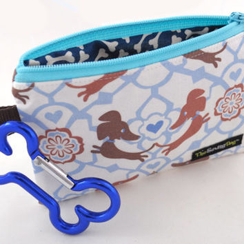 Dog Clean-Up Pouch - 'Dachshund Puppy Love' - With Clip to Attach to Your Leash & Free Earth Friendly Poop Bags