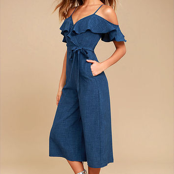 Lost in Love Denim Blue Off-the-Shoulder Midi Jumpsuit