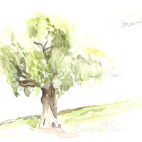 Little Weeping Willow Tree - original watercolor
