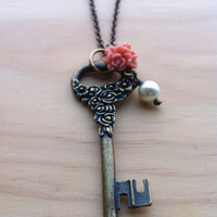 Secret Flower Garden Key Necklace