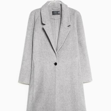 LONG MOHAIR-BLEND COAT