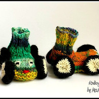 Adorable racing car baby booties - handknitted and unique