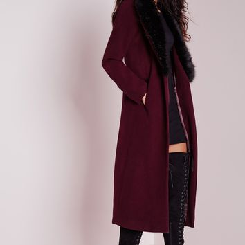 Missguided - Longline Wool Coat with Faux Fur Collar Burgundy