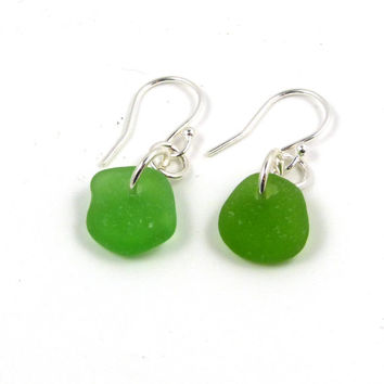 Emerald Green Sea Glass Sterling Silver Earrings