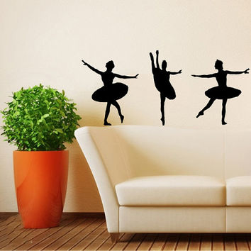 Three Dancers Girls Ballet Ballerina Sport Home Wall Housewares Vinyl Decal Art Decor Removable Stylish Sticker Unique Design Room V504