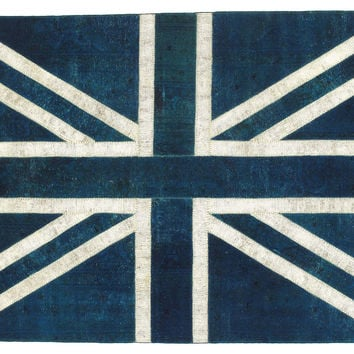 "6'6""x9'9"" Anglais Flat-Weave, Blue/White, Area Rugs"