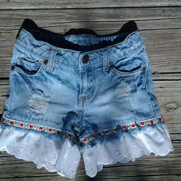 4 / 5 Distressed Blue Jean Shorts with Vintage Ribbon trim and Scalloped Lace Ruffle - Girls Toddlers - Handmade by The Hippie Patch