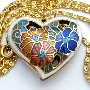 Vintage Cloisonne Heart Pendant Necklace 18""