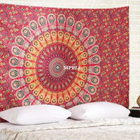 Queen Size Orange Red Mandala Tapestry Indian Blanket Yoga Boho Meditation Mat