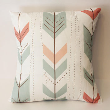 Ready to Ship - Tribal Aztec Ikat Arrows Stripes Decorative Pillow Case Cover Size 14x14 Pink Blue White Brown