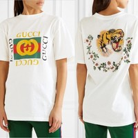 Fashion Online Gucci Back Embroidery Tiger Flowers T-shirt Top Tee