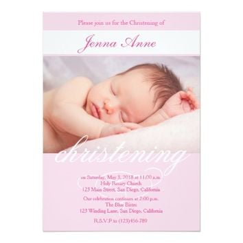 Elegant Christening Baptsim Invitation for Girls.