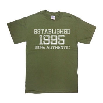Funny Birthday Shirt Established 1995 Any Year 100 Authentic 21 Years Old