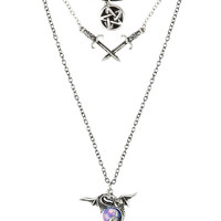 Dragon Sword Pentagram Layered Necklace