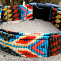 Faux beaded Navajo Spirit  dog collar in colorful by FunkyMutt