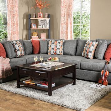 2 pc Pennington collection gray fabric upholstered sectional sofa set with rounded square arms