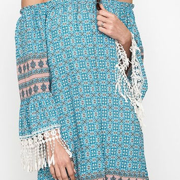 Eliza Bella for Kori Boho Flirty Fringed Off or On Shoulder Dress / Blouse SML