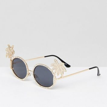 ASOS Embellished Palm Tree Diamonte Oval Sunglasses at asos.com