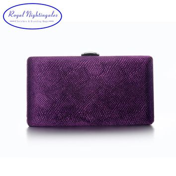 Grey/Green/Navy blue/Purple Velvet Fabric Hard Case Box Clutch Bag Evening Bags for Womens Party Prom Wedding
