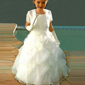 Princess Ruched Long Flower Girls Dresses Appliques Ball Gown Organza Birthday Festival Dress For Little Kids