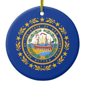 Ornament with flag of New Hampshire