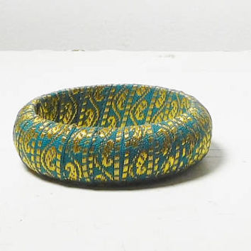 """Bohemian Bangle Ethnic Fabric Material Wrapped Cuff Bracelet Green Gold Round Opening is 7 1/2"""" Old Hippie Style Jewelry Indie Festival"""