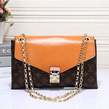 ONETOW Louis Vuitton' Fashion Multicolor Classic Logo Print Metal Chain Single Shoulder Messenger Bag Women Small Square Bag