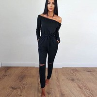 Womens Off Shoulder Long Sleeve Playsuit Bodycon Party Jumpsuit Romper Trousers