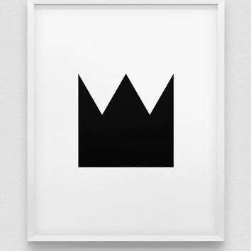 crown print // geometric design print // black and white home decor // minimalistic print // modern print // black crown wall decor