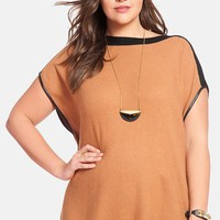 Plus Size Women's ELOQUII Faux Leather Trim Ribbed Sweater Poncho,