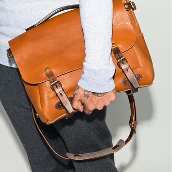 "Men's Handmade Vintage Leather Briefcase / Leather Satchel / 15"" MacBook 15"" Laptop Bag -  / Leather Messenger Bag m034"