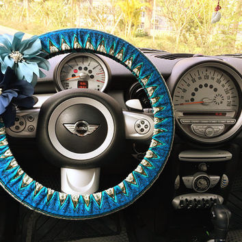 Car Steering wheel cover-Blue Chevron Aztec Two sides Printing with Easily Detachable/Reinstalled Chiffon Flowers