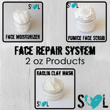 Face Repair System- Kaolin Clay Mask- Pumice Face Scrub- Face Moisturizer- With Vita Burst Beads