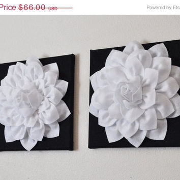 "MOTHERS DAY SALE Two Flower Wall Hangings -White Dahlia on Black 12 x12"" Canvas Wall Art- Black and White Wall Decor"
