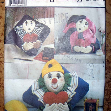 Fun Pillows, Clown Mime Jester Pillow Sewing Pattern Vintage Simplicity 8469