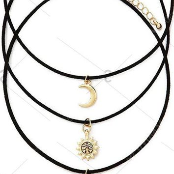 Fashion Moon Star Sun Layered Necklace Set For Women   Golden