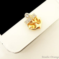 1PC Bling Crystal Anchor Apple iPhone Home Button Sticker for iPhone 4,4s,4g, iPhone 5, iPad, Smart Phone Charm