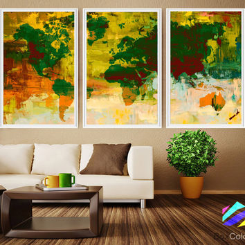 XL 3 Panels Poster World Map Art Print Photo Paper Abstract Watercolor paint Wall Decor Home (frame is not included) FREE Shipping USA!