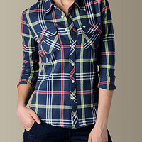 Womens Embroidered Flannel Plaid Work Shirt - (Azul) | True Religion Brand Jeans