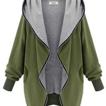 'The Agustina' Army Green Long Sleeve Hooded Jacket