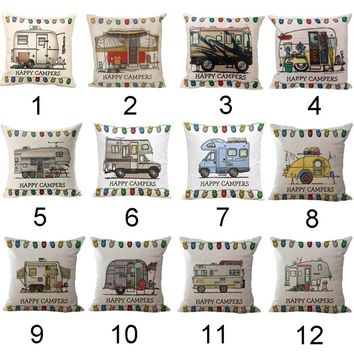 Amazing 1PC Happy Campers Design Pillow Case Sofa Waist Throw Cushion Cover Home Decor(Size: 45cm*45cm)