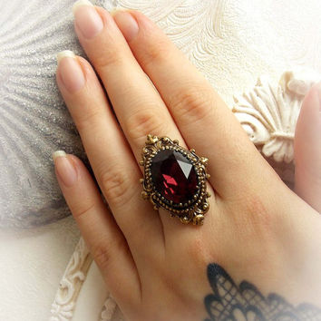Romantic victorian Burgundy Swarovski ring - baroque gothic ring antique brass ornate ring oval burgundy ring renaissance statement ring