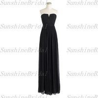 Real A-line Small V-neck Sleeveless Floor-length Chiffon Pleat Simple Long Bridesmaid Dresses Party Dresses Formal Dresses 2014 New Arrival