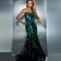 Mac Duggal Prom 2013 - Teal Strapless Sequin Mermaid Gown With Rhinestones - Unique Vintage - Cocktail, Pinup, Holiday & Prom Dresses.