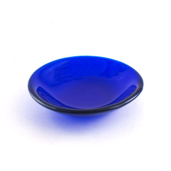 Jewelry Dish, Unique Trinket Bowl, Small Glass Dish, Cobalt Blue Room Decor, Fused Glass, Tea Bag Holder, Gifts Under 25 for Women