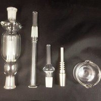 14mm Nectar Collector Kits with Gift Box Honey Straw Titanium Tip Water Smoking Pipe Glass Ash Catcher Titanium Vaporizer dab oil rigs